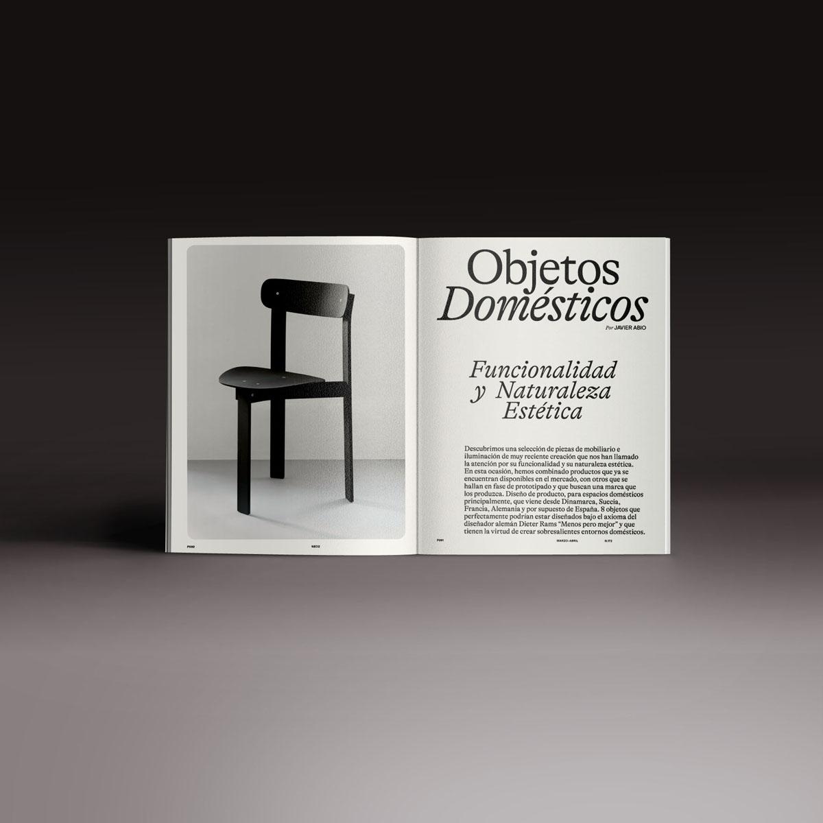 Neo2 Magazine doble página del artículo Objetos domésticos