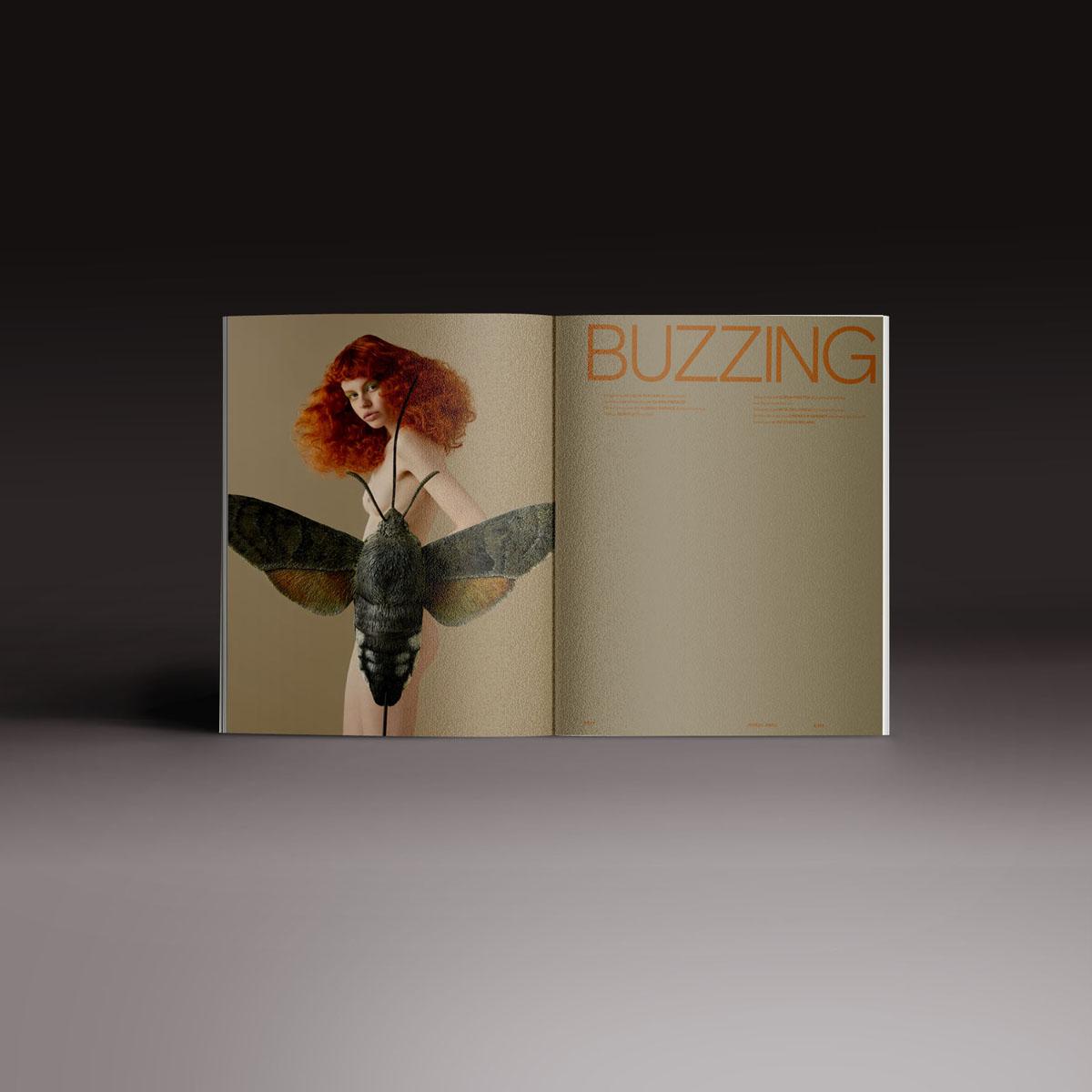 Neo2 Magazine papel doble pagina con un gran insecto