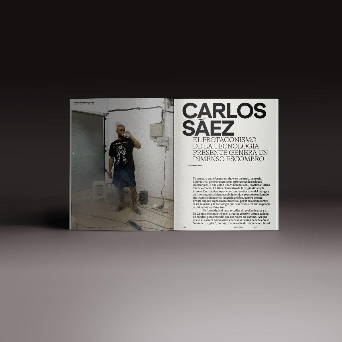 Neo2 Magazine papel doble pagina con artículo de Carlos Sáez