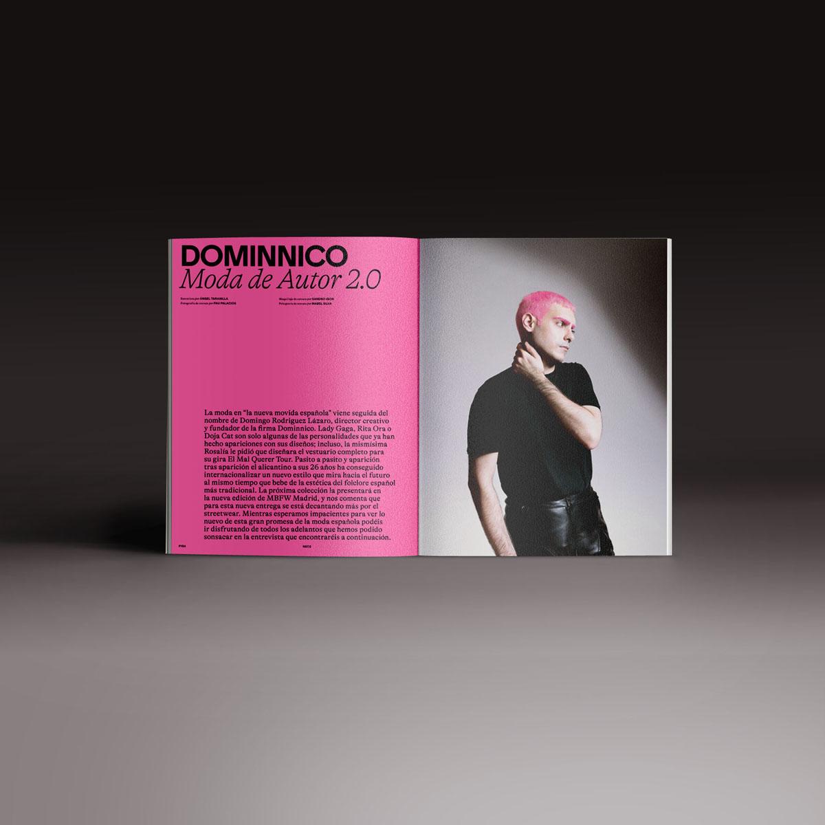 Neo2 Magazine papel doble pagina con artículo de Dominnico