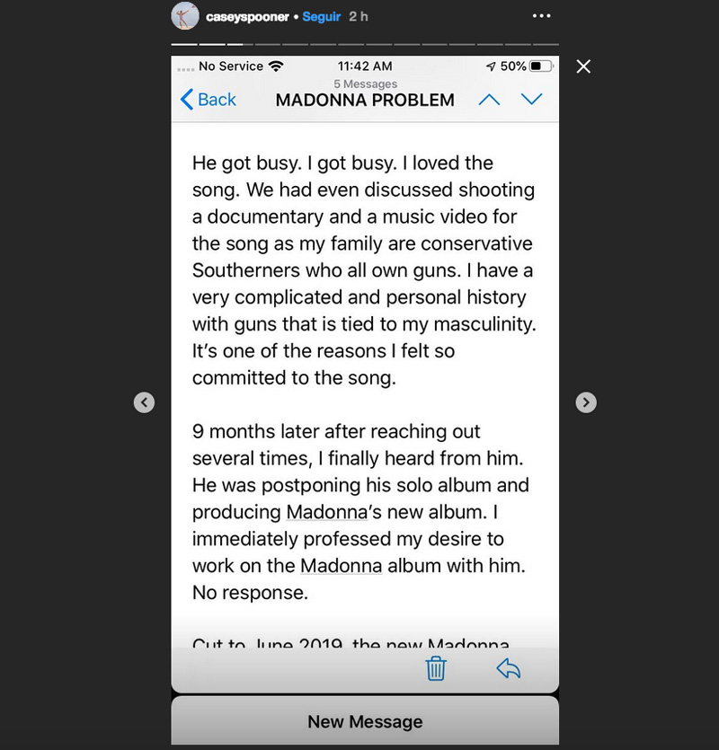 Casey Spooner denuncia a Madonna