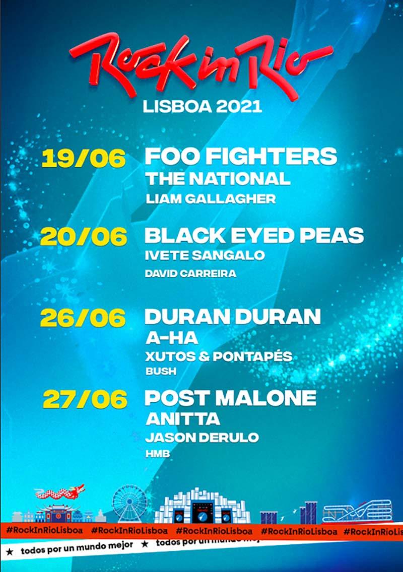 Rock In Rio Lisboa 2021 con Foo fighters y Black Eyed Peas