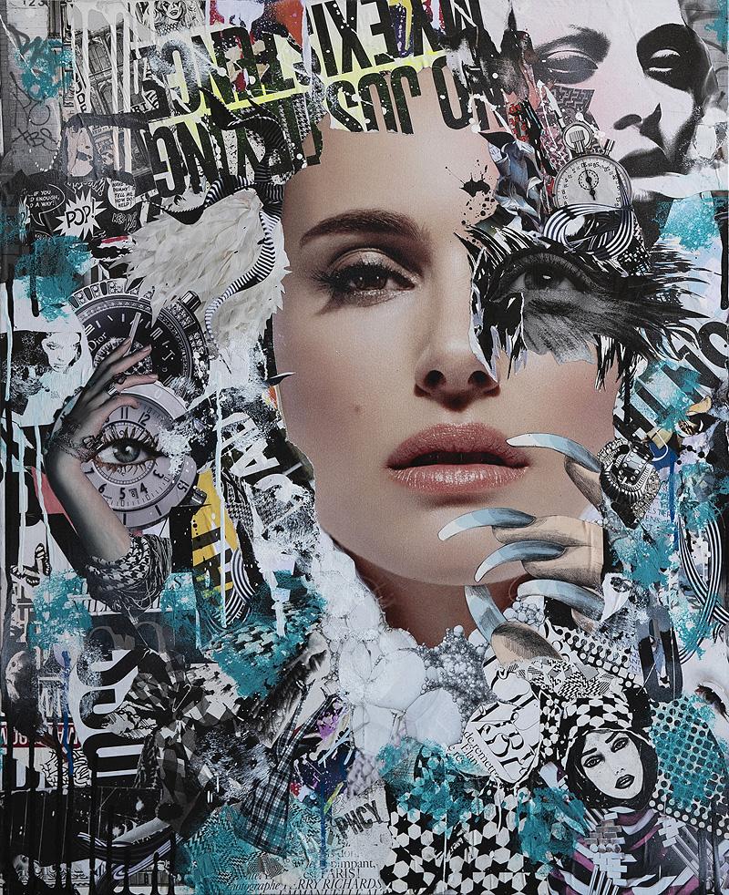 Collages de Miguel Muñoz en el Café Berlín de Valencia