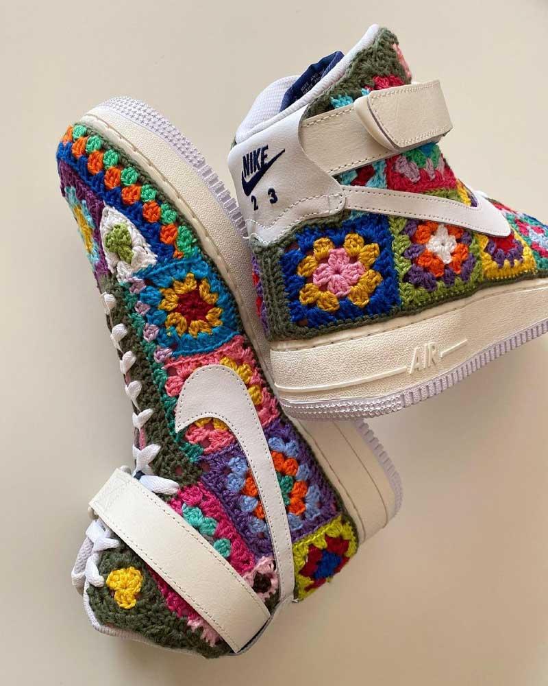 Zapatillas Air Force 1 de ganchillo: Granny Crochet de LC23
