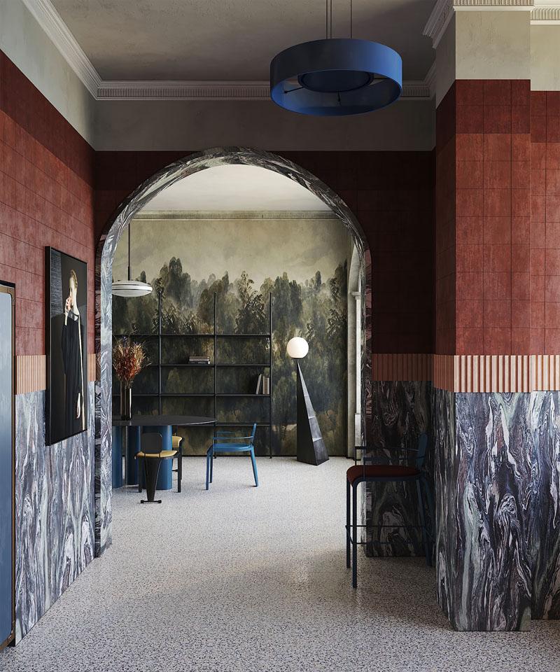 Interiorismo estilo Memphis en Milán por Puntofilipino