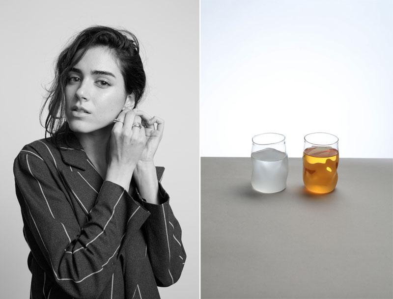 retrato de Paula Chacartegui y juego de vasos