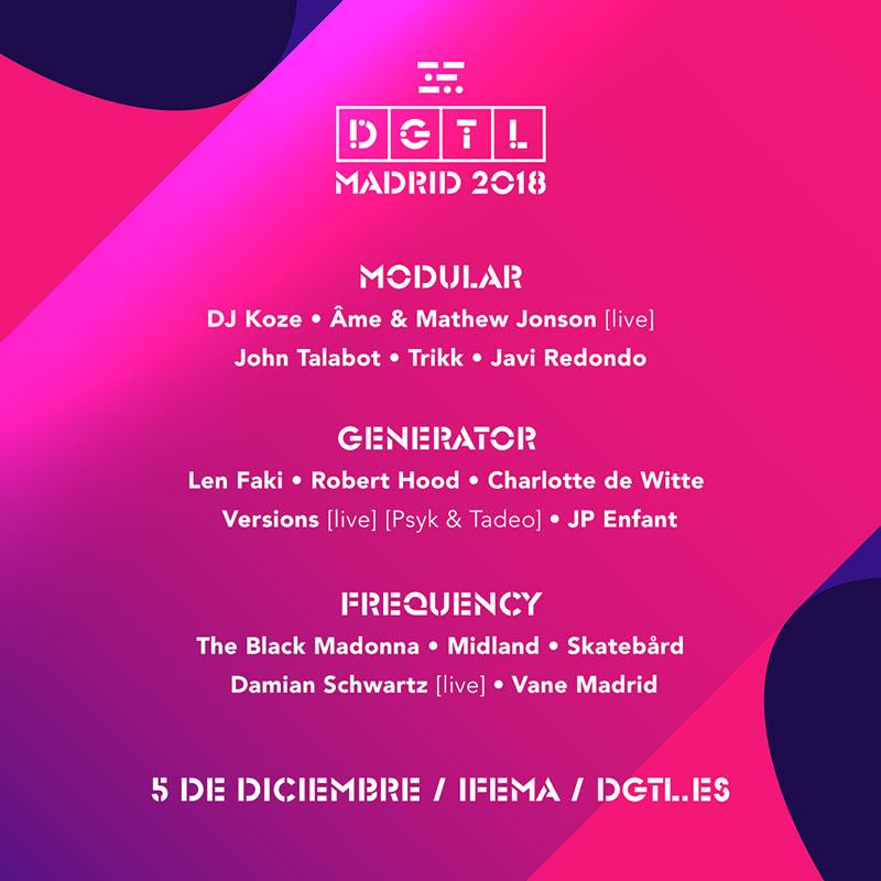 DGTL Madrid 2018: Todo el Cartel del Festival
