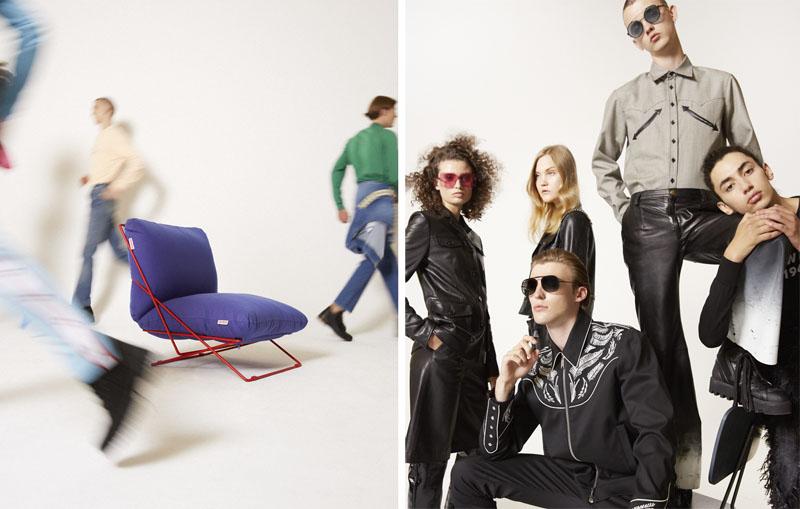 Editorial moda neo2 Antartica foto de grupo y sillon Valentina de Diabla
