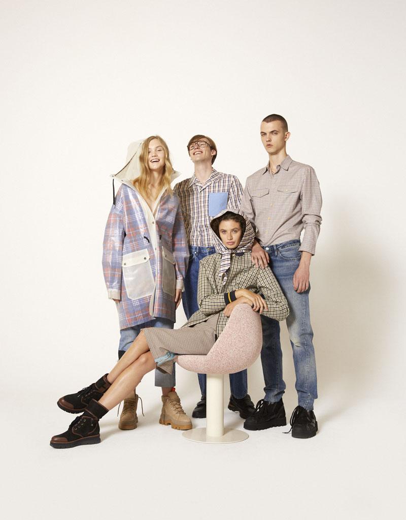 Editorial moda neo2 Antartica foto de grupo con ropa de cuadros